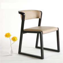 Кожаный диван обеденный стул с деревянной ноги