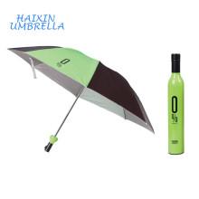 Les meilleurs articles de vente Parapluie de bouteille se pliant unique de soleil et de pluie 3 avec des parapluies faits sur commande de cas aucun minimum