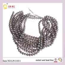 La forma de la patata 9-10mm pierde cadenas de la perla Calidad grises Perlas