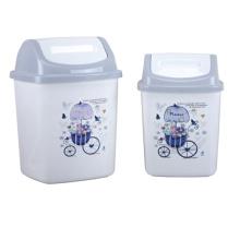 Пластиковая мусорная корзина с серым верхом Flip-on