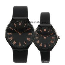 Montre en acier inoxydable Retour Couple noir montre ensemble