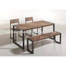 Industrial Metal legs and Mango wood Top Dining Table