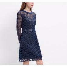 Vestido de las mujeres del patrón de estrellas bordado azul elegante primavera manga larga