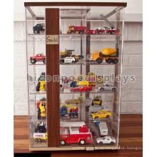 Kinderspielwaren Einzelverkaufsspeicher-kundenspezifische Tabellen-Oberseiten-hölzerne Acrylminifigur-komische Spielzeug-Auto-Anzeigen-Kasten