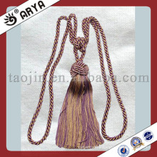 Large Drapery Curtain Tie-Backs Twisted Rope Braided Tassels Purple Gold