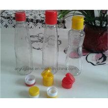 Vaciar botellas de vidrio de aceite de sésamo vacía para condimento con tapas