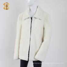 Теплый зимний реальный белый мех ягненка с толстым короткошерстным меховым пальто