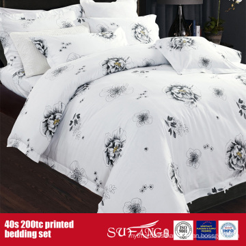 40S 200TC Printed Black White Wholesale Linen Set for Hotel/Home Use