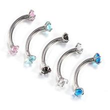 Cubic Zirconia Gem Internally Thread Curved Barbell
