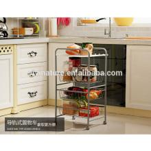Chariot de chariot de stockage d'approvisionnement de stockage de cuisine de 3 rangées
