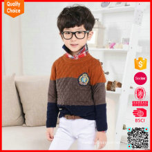 Sweet warm 100% cotton pullover knitted sweater designs for kids hand knitted