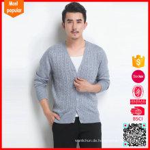Hochwertiges Kabel Strickjacke Pullover 100% Kaschmir Mäntel Herren