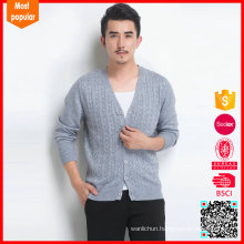 High quality cable knitted cardigan sweater 100% cashmere coats mens