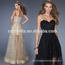 Sexy Black ivory champagne Lace Long Evening Dress
