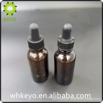 30ml Hot sale make up packing amber colored empty cosmetic glass dropper bottle with rubber dropper