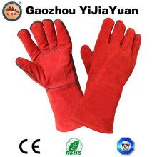 Guantes de soldadura de cuero dividido de vaca de la fábrica de Gaozhou, China con aprobación Ce