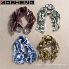 Элегантная удобная закрытая кожаная женская модная темпераментная печатная шелковая шарф