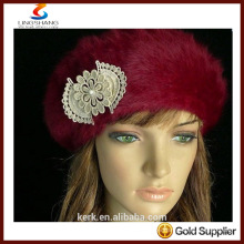 lingshang angora high quality knitted winter flower crochet fashion hat