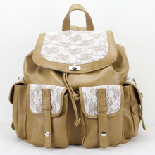 Vintage College School PU Kulit Lace Backpack