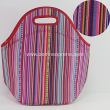 High Quality Striped Neoprene Tote Lunch Bags