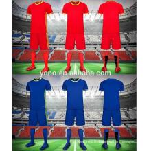 2017 пустой детский футбольный клуб униформа устанавливает высокое качество ребенок футбол Джерси комплекты сухой Fit дышащий комплекты футбол Джерси