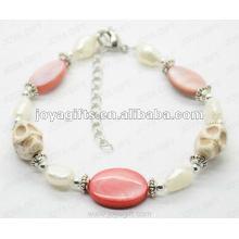 Fashion 2012 Joya White Skull avec perle de perle de perle