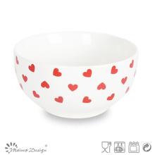 Decal Red Heart Design Nouveau Bol en porcelaine d'os