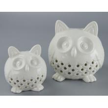 Caliente venta decorativos cerámica buho vela titular