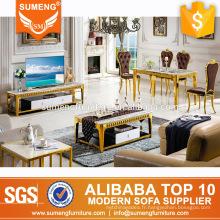 Luxe européen royal style italien couleur dorée en acier inoxydable avec ensemble de salle à manger en marbre
