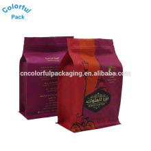 2017hot sale block bottom coffee bag candy square bottom bag flat bottom chia seeds organic gusset bags