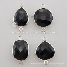Beste Qualität Sterling Silber Schwarz Onyx Natürliche Edelstein Lünette Connectors