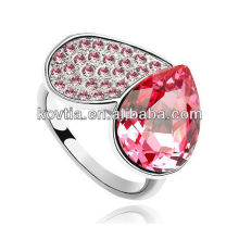 Charme único coração forma rubi anéis de casamento