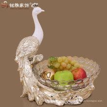 umweltfreundliche Pfau Figürchen mit Glas Obst Tablett Harz Figur Glas Schüssel Obst Tablett