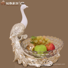 environmental friendly peacock figurine with glass fruit tray resin figurine glass bowl fruit tray