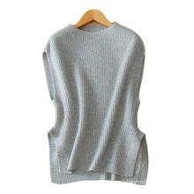 Women sleeveless pullover sweater 100% cashmere knitting thick loose split hem sweater