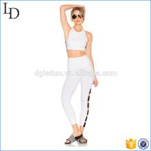 Pantalon de yoga empilé large / blanc yoga vêtements de yoga de remise en forme pour les dames