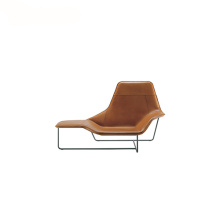 Contemporary Chaise Leather Steel Lama Lounge Chair