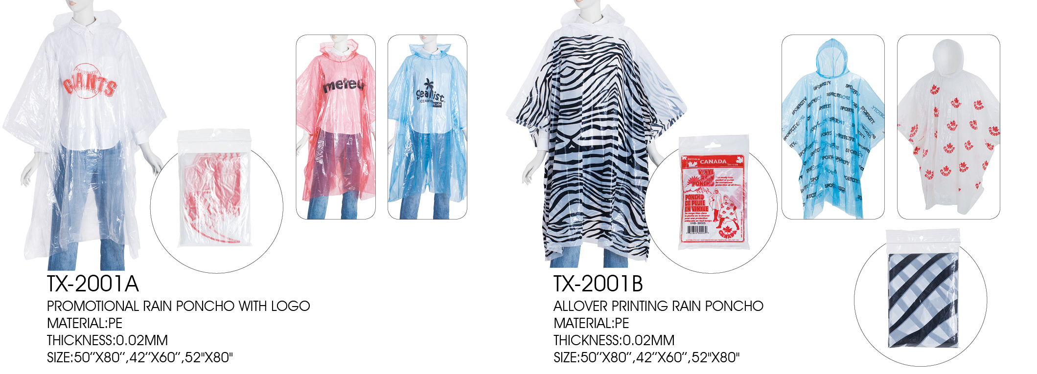 pe cheap poncho with customer's logo