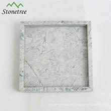 Bandeja de tocador de mármol blanco piedra natural piedra 100% Bandeja de piedra