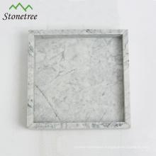 100% Natural Stone White Marble Vanity Tray Square Stone Tray