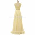 Nueva colección de vestido de fiesta con cuentas correa de fotos reales Chiffon piso de longitud vestido de fiesta de las mujeres 2017 con cuello en V y el diseño de la cremallera