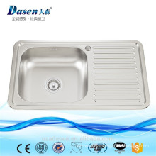 Top mount inox dish washing sink with drain board 7848