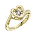 Jóias de anéis de diamante de dança de ouro 18k em forma de coração