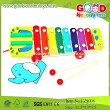 EZ9008Hot vendiendo los juguetes de madera musicales de los cabritos, elefante tiran el juguete de madera musical del xilófono de la cuerda, juguetes educativos musicales