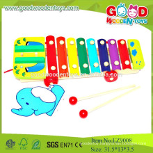 EZ9008Hot Selling Musical Kids Wooden Toys,Elephant Pull Cord Xylophone Musical Wooden Toy, Educational Musical Toys