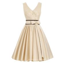 Kate Kasin sin mangas con cuello en V nupcial de raso corto vestido de fiesta de fiesta de baile KK000209-1
