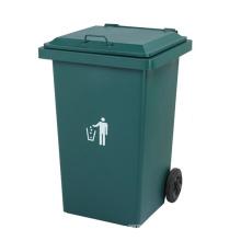 240L cubo de basura al aire libre de hierro con ruedas (yw0011)
