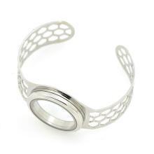 Top Verkauf Edelstahl breites Silber Manschette Armband, Wunsch Armbänder
