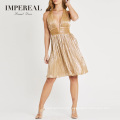 Metallic Gold Crop Top Open Breast Stitching Designs Party Wear Short Dress For Club