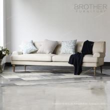 Sofá do escritório da tela dos estofos do pé de madeira da mobília do irmão três
